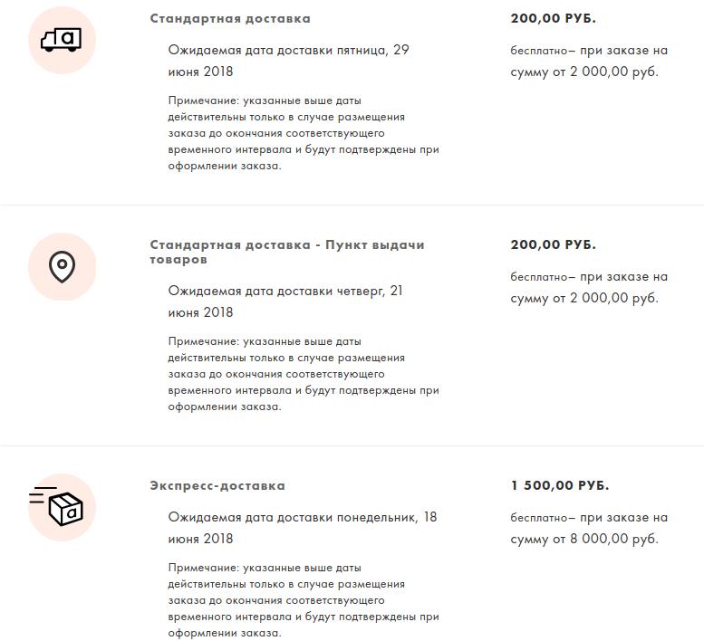 Способы доставки в ASOS