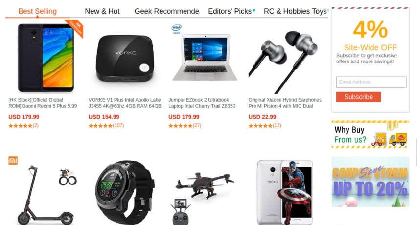 получайте скидки Geekbuying до -20% на товары недели